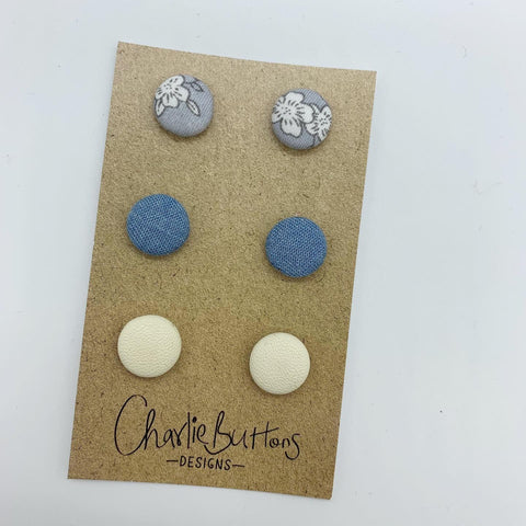 Denim Grey Trio Studs