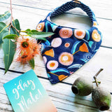 floral navy gum bandana bib. australian native flowers. handmade in australia using organic cotton.