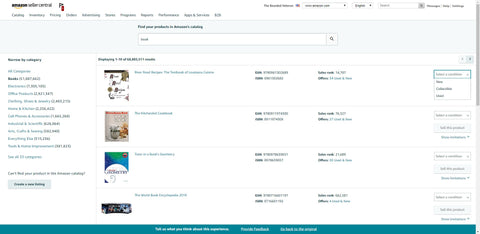 Amazon seller central product listing and product catalog