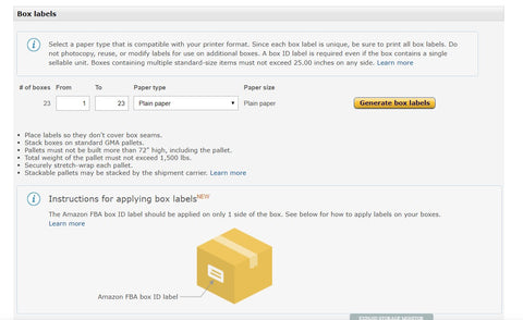 Amazon less than truckload LTL box labels for FBA shipment