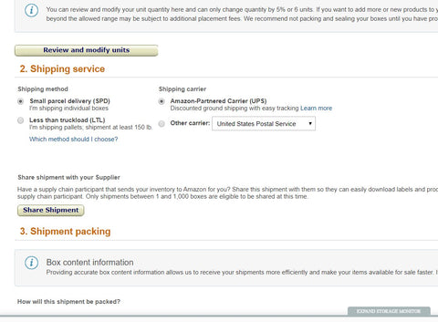 Amazon seller central FBA prepare shipment page