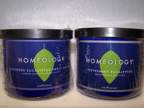 Gold Canyon Candles 2 - 16 Oz Homeology Lavender Eucaluptus & Orange NEW