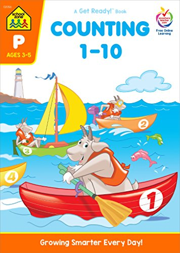 School Zone - Counting 1-10 Workbook - Ages 3 to 5, Preschool to Kindergarten, Tracing, Identifying Numbers, Writing Numbers, Numerical Order, and More (School Zone Get Ready!™ Book Series)