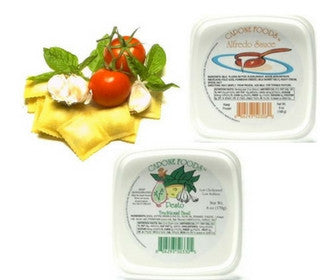 Delicious Sauce Combinations: Basil Pesto and Alfredo sauces with Tomato basil ravioli Quick Meal