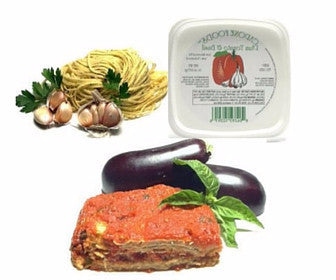 Eggplant Dinner with Garlic & Parsley Fettuccine Quick Meal Serves 3-4