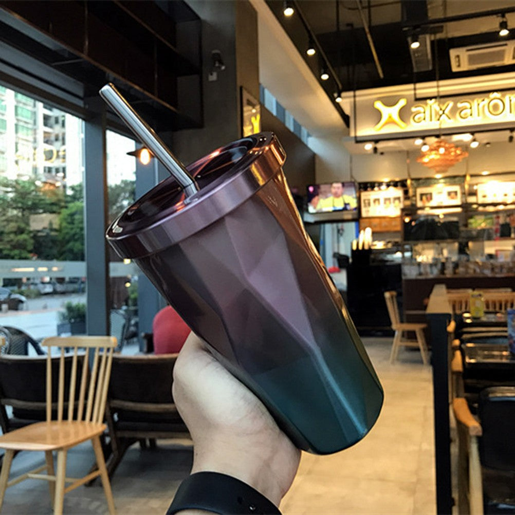 500 ml Stainless Steel Tumbler with Straw Coffee Mugs