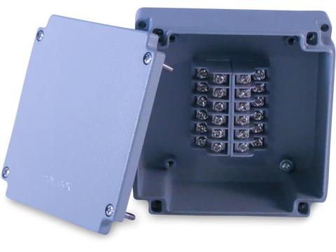 Enclosure with Terminal Block, Center Mounted, 12 Circuits, Cast Aluminum with Solid Cover