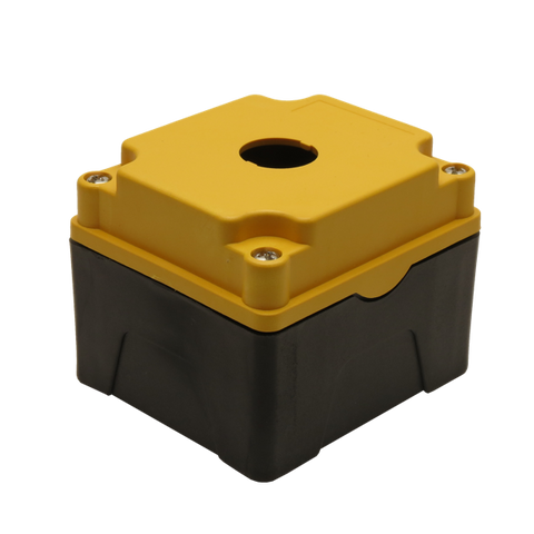 Yellow Push Button Box 1 Position 22mm Hole Size Counter Rotating Feature Isometric View