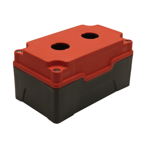 Red Push Button Box 2 Position 22mm Hole Size Counter Rotating Feature Isometric View