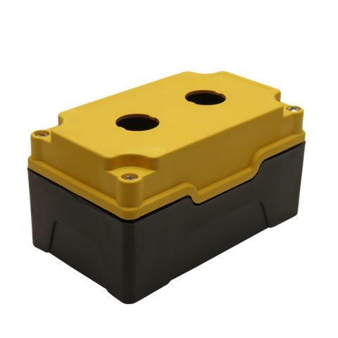 Yellow Push Button Box 2 Position 22mm Hole Size Counter Rotating Feature Isometric View