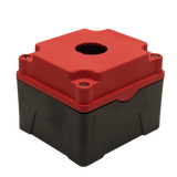 Red Push Button Box 1 Position 25mm Hole Size Counter Rotating Feature Isometric View