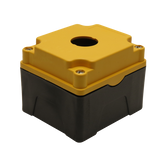 Yellow Push Button Box 1 Position 25mm Hole Size Counter Rotating Feature Isometric View