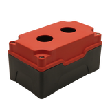 Red Push Button Box 2 Position 25mm Hole Size Counter Rotating Feature Isometric View