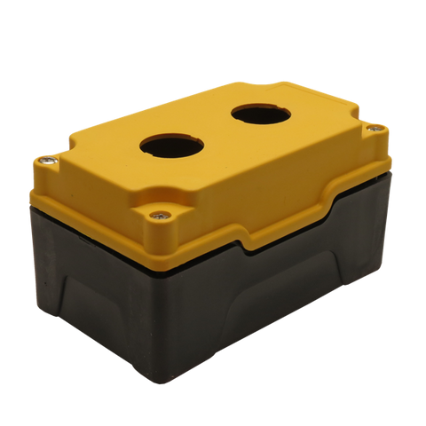 Yellow Push Button Box 2 Position 25mm Hole Size Counter Rotating Feature Isometric View