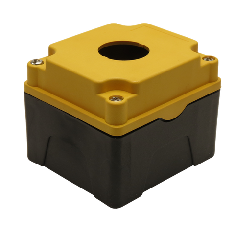 Yellow Push Button Box 1 Position 30mm Hole Size Counter Rotating Feature Isometric View