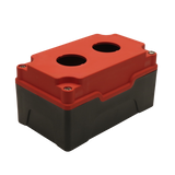 Red Push Button Box 2 Position 30mm Hole Size Counter Rotating Feature Isometric View