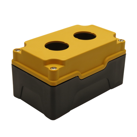 Yellow Push Button Box 2 Position 30mm Hole Size Counter Rotating Feature Isometric View