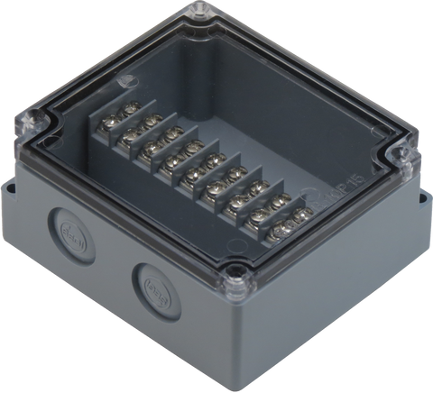 Enclosure with Terminal Block, Center Mounted, 10 Circuits, Grey ABS with Clear Cover
