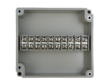 Enclosure with Terminal Block, Center Mounted, 10 Circuits, Ivory ABS with Solid Cover