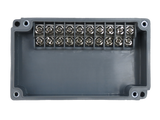 Enclosure with Terminal Block, Side Mounted, 10 Circuits, Grey ABS with Clear Cover