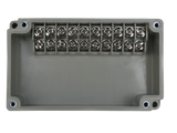 10 Position Terminal Enclosure top view of dual row style side terminals with cover removed