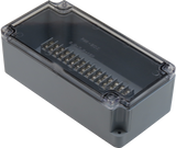 Enclosure with Terminal Block, Center Mounted, 15 Circuits, Grey ABS with Clear Cover