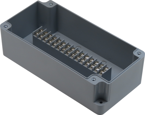 Enclosure with Terminal Block, Center Mounted, 15 Circuits, Grey ABS with Solid Cover