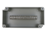 Enclosure with Terminal Block, Center Mounted, 15 Circuits, Ivory ABS with Solid Cover