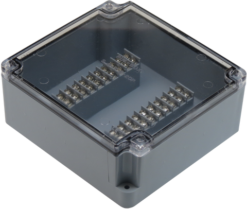 Enclosure with Terminal Block, Center Mounted, 20 Circuits, Grey ABS with Clear Cover