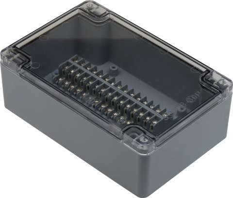 Enclosure with Terminal Block, Center Mounted, 30 Circuits, Grey ABS with Clear Cover