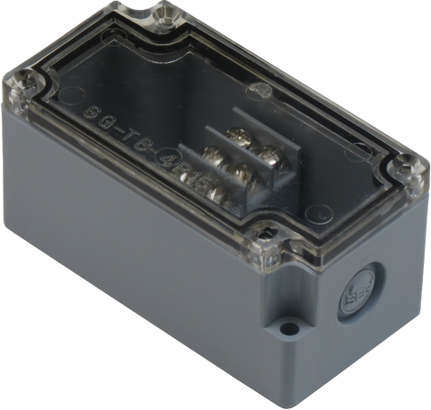 Enclosure with Terminal Block, Center Mounted, 4 Circuits, Grey ABS with Clear Cover
