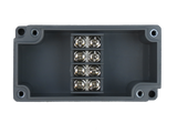 Enclosure with Terminal Block, Center Mounted, 4 Circuits, Grey ABS with Solid Cover