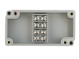 Enclosure with Terminal Block, Center Mounted, 4 Circuits, Ivory ABS with Solid Cover