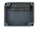 Enclosure with Terminal Block, Side Mounted, 6 Circuits, Grey ABS with Clear Cover