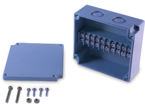 Enclosure with Terminal Block, Center Mounted, 10 Circuits, Grey ABS with Solid Cover