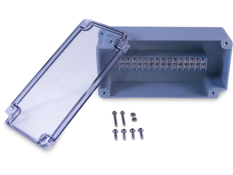 Enclosure with 15 Circuit Terminal Block Grey ABS with Clear Cover