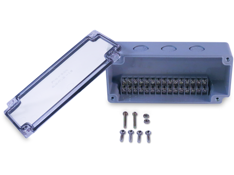 Enclosure with Terminal Block, Side Mounted, 15 Circuits, Grey ABS with Clear Cover