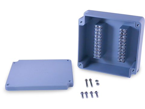Enclosure with Terminal Block, Center Mounted, 20 Circuits, Grey ABS with Solid Cover