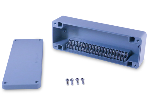 Enclosure with Terminal Block, Side Mounted, 20 Circuits, Grey ABS with Solid Cover