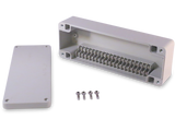 Enclosure with Terminal Block, Side Mounted, 20 Circuits, Ivory ABS with Solid Cover