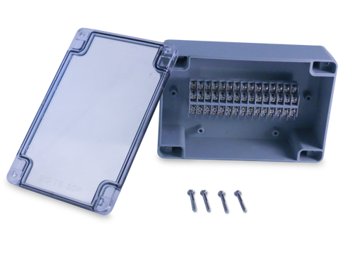 Enclosure with 30 Circuit Terminal Block Grey ABS Clear Cover