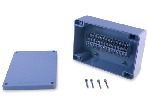 Enclosure with Terminal Block, Center Mounted, 30 Circuits, Grey ABS with Solid Cover