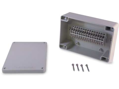 Enclosure with 30 Circuit Terminal Block Ivory ABS Solid Cover