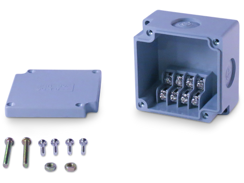 Enclosure with Terminal Block, Side Mounted, 4 Circuits, Grey ABS with Solid Cover