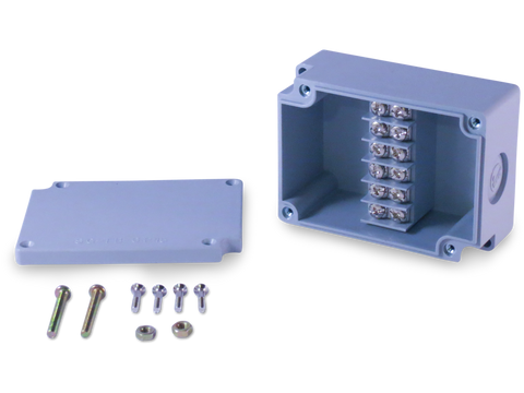 Enclosure with Terminal Block, Center Mounted, 6 Circuits, Grey ABS with Solid Cover