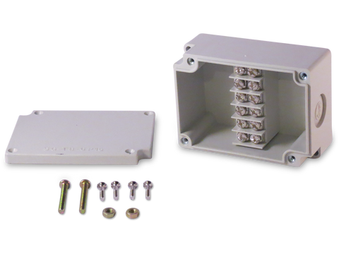 Enclosure with Terminal Block, Center Mounted, 6 Circuits, Ivory ABS with Solid Cover