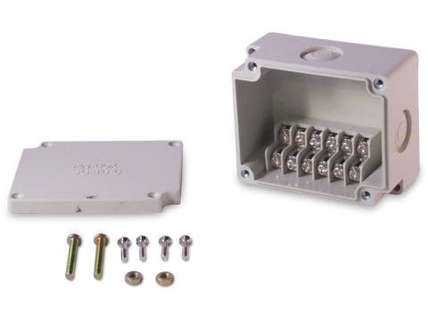 Enclosure with Terminal Block, Side Mounted, 6 Circuits, Ivory ABS with Solid Cover