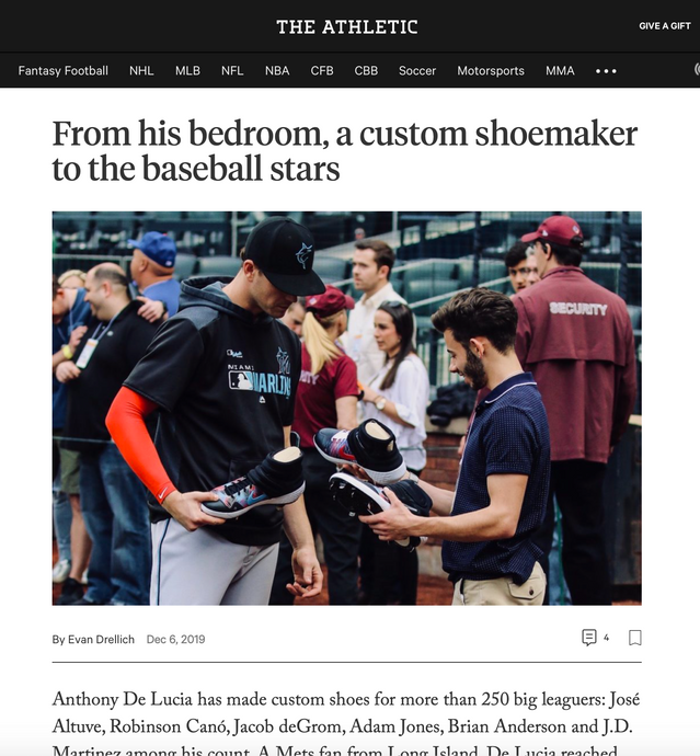 The Athletic: From his bedroom, a custom shoemaker to the baseball stars