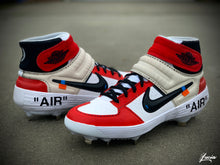 Load image into Gallery viewer, OFF-WHITE Inspired Huarache Mid Baseball/Football Cleats (Cleats Included)