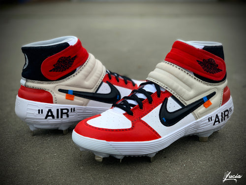 OFF-WHITE Inspired Huarache Mid Baseball Cleats